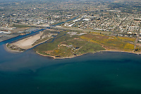 Aerial view of Sweetwater River and Sweetwater Marsh National Wildlife Refuge in San Diego Bay, California, looking north.