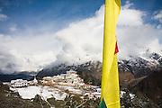 Tengboche Monastery with prayer flag along the trail to Everest, Khumbu region, Sagarmatha National Park, Himalaya Mountains, Nepal.