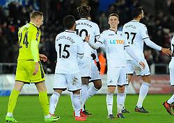 Tom Carroll of Swansea City celebrates his goal - Mandatory by-line: Nizaam Jones/JMP - 06/02/2018 - FOOTBALL - Liberty Stadium - Swansea, Wales - Swansea City v Notts County - Emirates FA Cup fourth round proper
