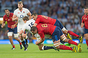 Twickenham, England.  France's, Scott SPEDDING and Luis PICMOLES combine to stop, Alex GOODE's run, during the QBE International. England vs France [World cup warm up match]  Saturday.  15.08.2015,  [Mandatory Credit. Peter SPURRIER/Intersport Images].