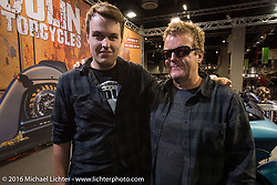 Fred Kodlin and his son Len Kodlin in their Murder Cycles booth in the custom themed Hall 10 at the Intermot Motorcycle Trade Fair. Cologne, Germany. Wednesday October 5, 2016. Photography ©2016 Michael Lichter.Intermot Motorcycle Trade Fair. Cologne, Germany. Wednesday October 5, 2016. Photography ©2016 Michael Lichter.