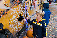 Boy with spiderweb at Keene Pumpkin Festival