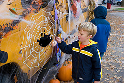 Boy with spiderweb at Keene Pumpkin Festival