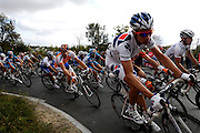 France, VEIGNE , 11 October 2009: Mickael CHEREL, FRANCAISE DES JEUX (FDJ), on the Côte de Crochu climb during the Paris Tours cycle race. Photo by Peter Horrell / http://peterhorrell.com...