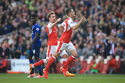 7 May 2017 - Premier League - Arsenal v Manchester United - Granit Xhaka of Arsenal celebrates scoring the opening goal with Nacho Monreal - Photo: Marc Atkins / Offside.
