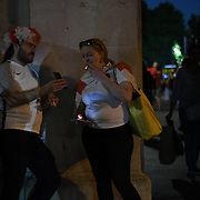 Silly england fans charting It coming home after England loss to Croatia the 2018 FIFA World Cup semi-finals in Moscow outside Hype park on 11 July 2018.