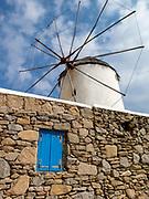 Traditional windmill in Mykonos town, Cyclades, Greece
