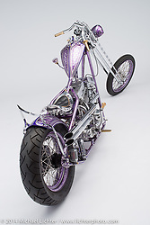 "Dalton Walker's S.I.K. 1984 purple graphic Harley-Davidson 1984 80"" Evo chopper with an original Denvers Springer. Photographed by Michael Lichter on January 10, 2014 in Charlotte, NC. ©2014 Michael Lichter"