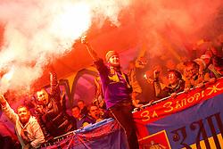 Supporters of Ukraine celebrate after scoring goal for Ukraine in last second during the UEFA EURO 2016 Play-off for Final Tournament, Second leg between Slovenia and Ukraine, on November 17, 2015 in Stadium Ljudski vrt, Maribor, Slovenia. Photo by Vid Ponikvar / Sportida