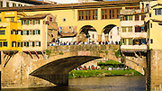 Tourists on Ponte Vecchio, Florence, Tuscany, Italy