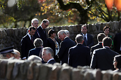 The Prince of Wales (centre) arrives at the Aberfan Memorial Garden in Wales, during a visit to the village on the 50th anniversary of the Aberfan disaster.