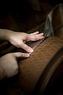 Grinding a knife made by Yoshikazu Ikeda Forged Knife Master Craftsman, Sakai, Osaka Prefecture, Japan
