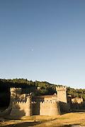 Daryl Sattui's Castello di Amoroso, a  version of a Tuscan hilltop castle in Calistoga, California. Napa Valley, California. Under construction January 2007.