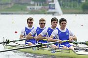 Poznan, POLAND.   2004 FISA World Cup, Malta Lake Course.  <br /> <br /> Fri. morning from the start pontoon<br /> <br /> FRA M4- Bow; Vincent Durupt, Elie Vervueren, Timothee De LAgarde and Lional Jacquiot..<br /> <br /> <br /> 09.05.2004<br /> <br /> [Mandatory Credit:Peter SPURRIER/Intersport Images]