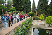 The Alhambra Palace and fortress complex located in Granada, Andalucia, Spain. Gardens in the Placio Yusuf III (Palace of Yusuf III). An archaeological area looking towards the Partal Palace.