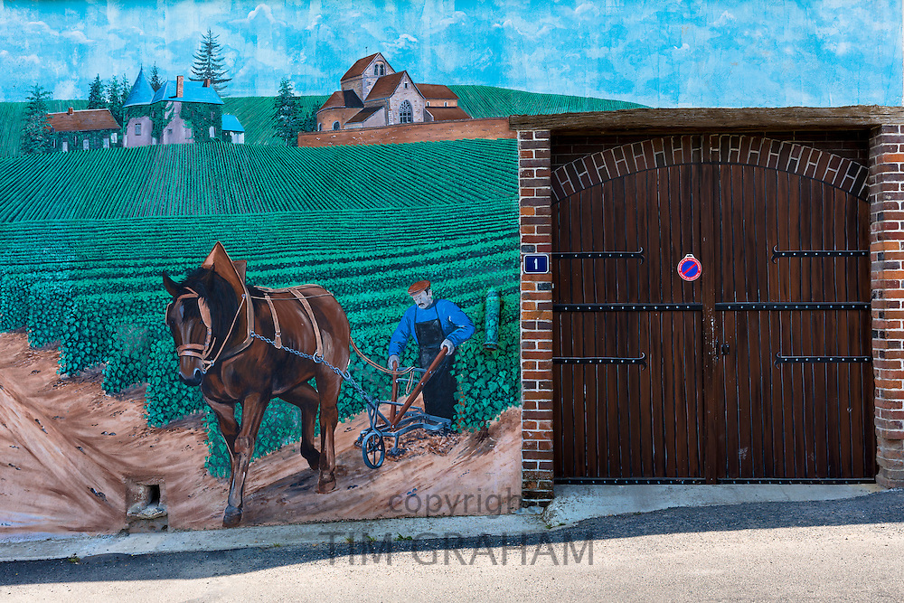 Champagne mural on the Champagne Tourist Route at Mancy in the Marne, Champagne-Ardenne, France