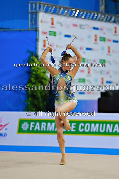 Veronica Bertolini during final at clubs in Pesaro World Cup 12 April, 2015.<br /> Veronica was born in Sondrio October 19, 1995, she is an individual gymnast of the Italian team.