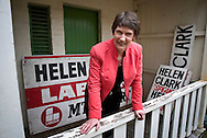 Prime Minister Helen Clark stands amongst election campaign signs of the past, at her Auckland electorate office. <br /> Photograph by Richard Robinson<br /> 2005 © New Zealand Herald A Division of APN New Zealand Ltd.<br /> No Reproduction without prior written permission. Contact www.newspix.co.nz to licence photograph.