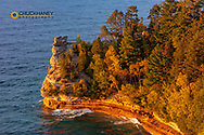Days last light on Miiners Castle at Pictured Rocks National Lakeshore, Michigan, USA