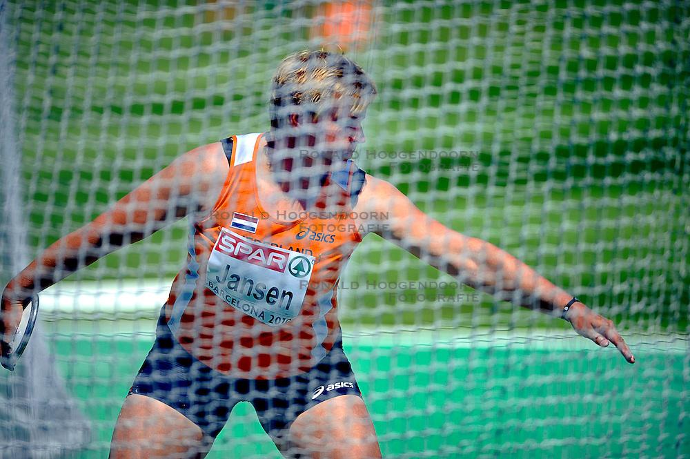27-07-2010 ATLETIEK: EUROPEAN ATHLETICS CHAMPIONSHIPS: BARCELONA  Discuswerpster Monique Jansen heeft dinsdag haar debuut op een internationaal titeltoernooi gevierd met een finaleplaats<br /> ©2010-WWW.FOTOHOOGENDOORN.NL