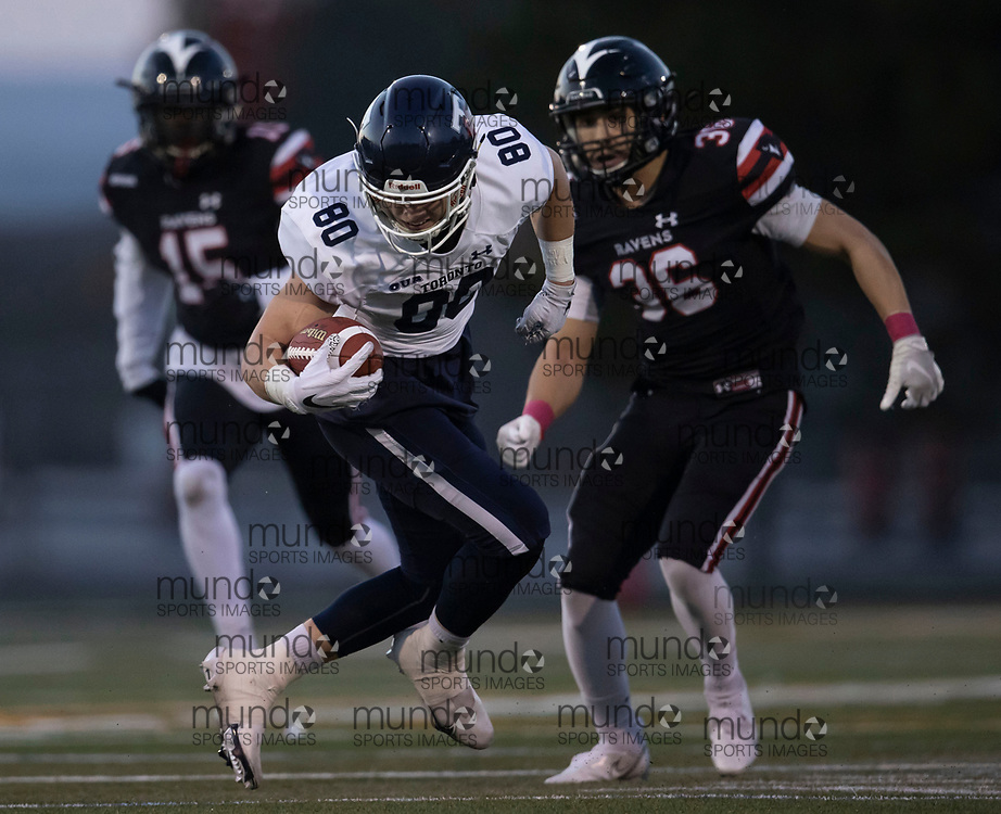 If you post on social media please tag @mundosportimages on Instagram or tag Mundo Sport Images on Facebook.<br /> <br /> (Ottawa, Canada---08 October 2021) Ethan Mackinnon (80 -- WR) of the University of Toronto Varsity Blues playing in the OUA football game between the Carleton University Ravens and the University of Toronto Varsity Blues at Carleton's Raven's perch stadium.  Photograph 2021 Copyright Sean Burges / Mundo Sport Images