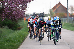 Alexis Ryan and Katrin Garfoot into the headwind at Dwars door de Westhoek 2016. A 127km road race starting and finishing in Boezinge, Belgium on 24th April 2016.