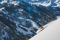 Pip Hunt drops into the Alta Backcountry, Wasatch Mountains, Utah.