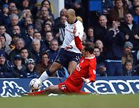 Dietmar Hamann (Liverpool) slides in on Stephane Dalmat (Tottenham Hotspur)Tottenham Hotspur v Liverpool, White Hart Lane, 17/01/2003, Premiership Football. Photo: Digitalsport