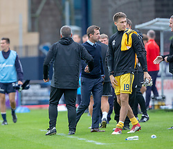 Dundee's manager Neil McCann and Ayr United's manager Ian McCall at the end. Dundee 0 v 3 Ayr United, Scottish League Cup Second Round, played 18/8/2018 at the Kilmac Stadium at Dens Park, Scotland.