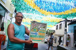June 15, 2018 - Salvador, Brazil - SALVADOR, BA - 15.06.2018: DECORAÇÃO DE COPA EM SALVADOR - Decoration for the World Cup in Rua Souza Uzel, known as Rua 13, which was a success in the decoration of 2014, the street of the family of the player Dante, ex-Seleção Brasileira. The merchant Ivo Vieira, responsible for decoration with neighborhood residents. (Credit Image: © Mauro Akin Nassor/Fotoarena via ZUMA Press)