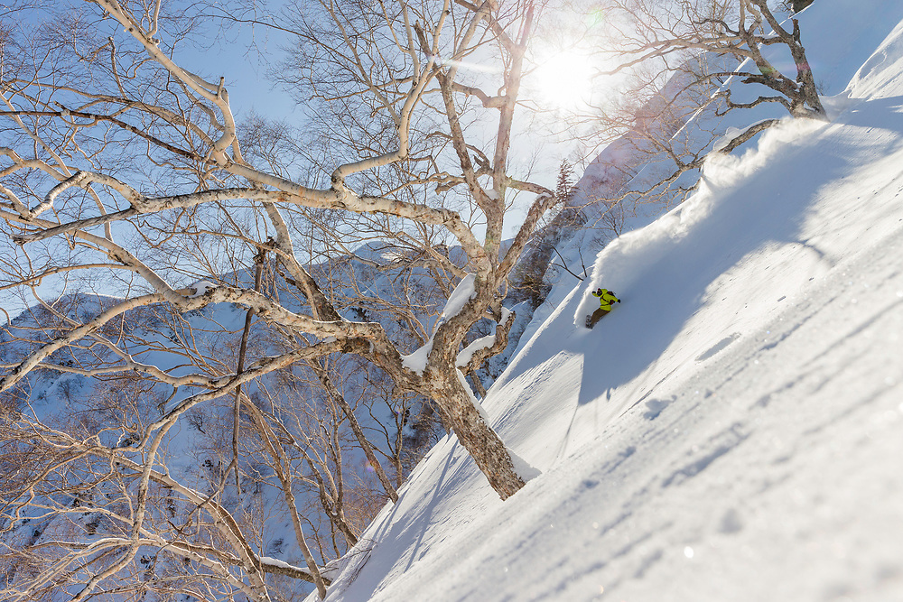 Eric Jackson lays down a deep trench in the backcountry of Hakuba, Japan on a trip there to shoot for The Book of John J.