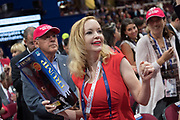 A GOP Florida delegate holds a Donald Trump doll during the Republican National Convention July 20, 2016 in Cleveland, Ohio.