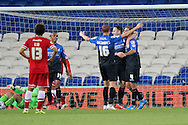 Dan Gosling of Bournemouth (far right) celebrates after scoring his side's third goal. Capital One Cup, 3rd round match, Cardiff City v AFC Bournemouth at the Cardiff City stadium in Cardiff, South Wales on Tuesday 23rd Sept 2014<br /> pic by Mark Hawkins, Andrew Orchard sports photography.