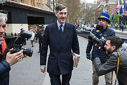 © Licensed to London News Pictures. 27/03/2019. London, UK. Brexit supporter Jacob Rees-Mogg (centre), who has announced he may be able to support Prime Minister Theresa May's Brexit Deal, in Westminster. MPs will hold a series of indicative votes on different Brexit options this evening. Photo credit: Rob Pinney/LNP