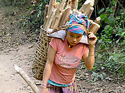 "A Laoseng ethnic minority woman carries firewood in a traditional bamboo basket to the new village from the old village of Ban Phoumeuang  which is being temporarily relocated away from the Nam Ou river, during the construction of the Nam Ou Cascade Hydropower Project Dam 6. The Nam Ou river connects small riverside villages and provides the rural population with food for fishing. It is a place where children play and families bathe, where men fish and women wash their clothes. But this river and others like it, that are the lifeline of rural communities and local economies are being blocked, diverted and decimated by dams. The Lao government hopes to transform the country into ""the battery of Southeast Asia"" by exporting the power to Thailand and Vietnam."