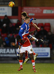 Crewe Alexandra's Jon Guthrie and Anthony Grant (L) compete with Gillingham's Luke Norris - Photo mandatory by-line: Richard Martin-Roberts - Mobile: 07966 386802 - 10/01/2015 - SPORT - Football - Crewe - Alexandra Stadium - Crewe Alexandra v Gillingham - Sky Bet League One