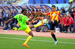 May 12, 2017 - Rades, Tunisia - Khalil Chammam of  (EST)and Muzinga  Ngonda(14) of the Vita club during the First day of the group stage of the Champions League  2017 Total  between Esperance Sportive de Tunis (EST) and the formation of AS Vita Club (RD Congo) at the Rades stadium..The Esperance Sportive de Tunis (EST) won by 3/1. (Credit Image: © Chokri Mahjoub via ZUMA Wire)