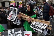 A young Muslim woman activist at the Stop Trump's Muslim ban demonstration on 4th February 2017 in London, United Kingdom. The protest was called on by Stop the War Coalition, Stand Up to Racism, Muslim Association of Britain, Muslim Engagement and Development, the Muslim Council of Britain, CND and Friends of Al-Aqsa. Thousands of demonstrators gathered to demonstrate against Trumps ban on Muslims, saying it must be opposed by all who are against racism and support basic human rights, and for Theresa May not to collude with him.