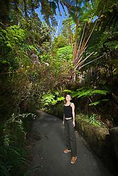 woman visitor exploring tropical rainforest of Hapuu Pulu, fern tree, Cibotium sp., and Ohia Lehuna, Metrosideros polymorpha, Hawaii Volcanoes National Park, Kilauea, Big Island, Hawaii, USA, MR