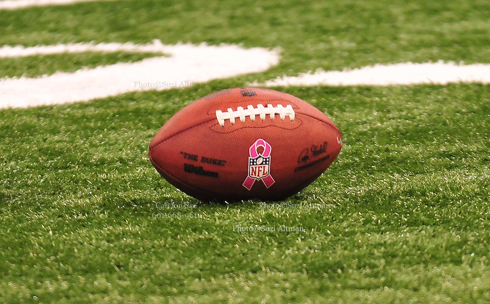 """The NFL has gone """"Pink"""" for October in honor of Breast Cancer Awareness. The Saints went on to win 16-14. John Carney kicked three field goals to help the Saints win. PHOTO©SuziAltman.com"""