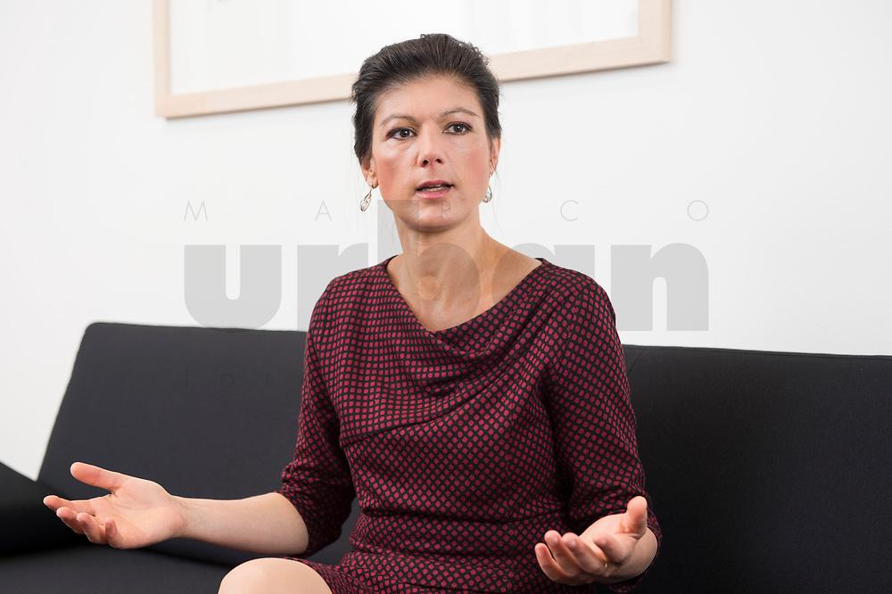 16 MAY 2016, BERLIN/GERMANY:<br /> Sahra Wagenknecht, MdB, Die Linke, Fraktionsvorsitzende DIe Linke Bundestagsfraktion, waehrend einem Interview, in ihrem Buero, Jakob-Kaiser-Haus, Deutscher Bundestag<br /> IMAGE: 20170516-02-044<br /> KEYWORDS: Büro