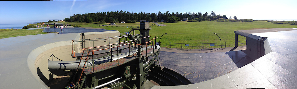 Cannon and Bunkers (Panorama), Fort Casey State Park, Whidbey Island, Washington, US