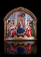"""Gothic painted Panel Virgin of the """"Consellers"""" by Lluis Dalmau. Tempera and gold leaf on wood. Date 1443-1445. Dimesions 316 x 312.5 x 32.5 cm. From the altar of the chapel of Barcelona City Hall. <br /> The prestige attached to Burgundian courtly culture and the painter Jan van Eyck explain why in 1431 King Alfons the Magnanimous sent his official painter, the Valencian Lluís Dalmau, to Flanders, to learn the new realist language at first hand. In 1443, Dalmau was commissioned to paint this altarpiece for the chapel of the City Hall. This work was a breakthrough in Catalonia on account of the format, the technique used, as it was painted in oil, and the skilful illusionism of a figurative space in which that year's five councillors, painted from life, are represented on the same scale as the Virgin and the Saints. National Museum of Catalan Art, Barcelona, Spain, inv no: 015938-000 .<br /> <br /> If you prefer you can also buy from our ALAMY PHOTO LIBRARY  Collection visit : https://www.alamy.com/portfolio/paul-williams-funkystock/gothic-art-antiquities.html  Type -     MANAC    - into the LOWER SEARCH WITHIN GALLERY box. Refine search by adding background colour, place, museum etc<br /> <br /> Visit our MEDIEVAL GOTHIC ART PHOTO COLLECTIONS for more   photos  to download or buy as prints https://funkystock.photoshelter.com/gallery-collection/Medieval-Gothic-Art-Antiquities-Historic-Sites-Pictures-Images-of/C0000gZ8POl_DCqE"""