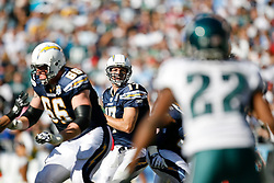 San Diego Chargers quarterback Philip Rivers #17 during the NFL game between the Philadelphia Eagles and the San Diego Chargers on November 15th 2009. At Qualcomm Stadium in San Diego, California. (Photo By Brian Garfinkel)