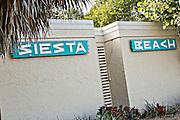 Siesta Beach sign Siesta Key Sarasota, Florida