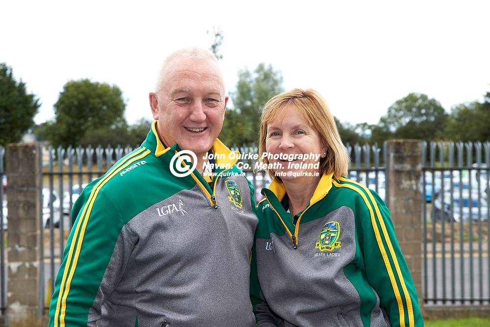 01-08-21, All Ireland Ladies SFC quarterfinal at Clones<br /> Meath v Armagh<br /> Meath supporters pictured at the game: Tom & Caroline Wall (Dunboyne)<br /> Photo: David Mullen / www.quirke.ie ©John Quirke Photography, Proudstown Road Navan. Co. Meath. 046-9079044 / 087-2579454.<br /> ISO: 200; Shutter: 1/250; Aperture: 7.1;