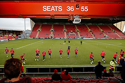 Bristol City supporters look on during the warm up - Photo mandatory by-line: Rogan Thomson/JMP - 07966 386802 - 20/12/2014 - SPORT - FOOTBALL - Crewe, England - Alexandra Stadium - Crewe Alexandra v Bristol City - Sky Bet League 1.