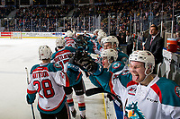 KELOWNA, CANADA - MARCH 13:  The Kelowna Rockets celebrate a goal against the Spokane Chiefs on March 13, 2019 at Prospera Place in Kelowna, British Columbia, Canada.  (Photo by Marissa Baecker/Shoot the Breeze)