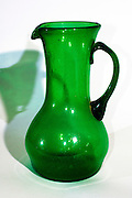 Green Hebron Glass jug, Glassblowing in Hebron, is a traditional industry