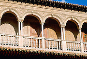 Alcazar Palace in Seville, Spain - balustrades and arches.